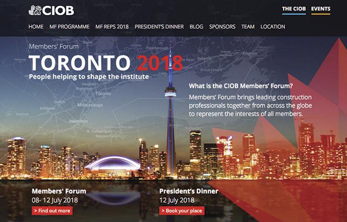 CIOB Members' Forum in Toronto: the countdown begins