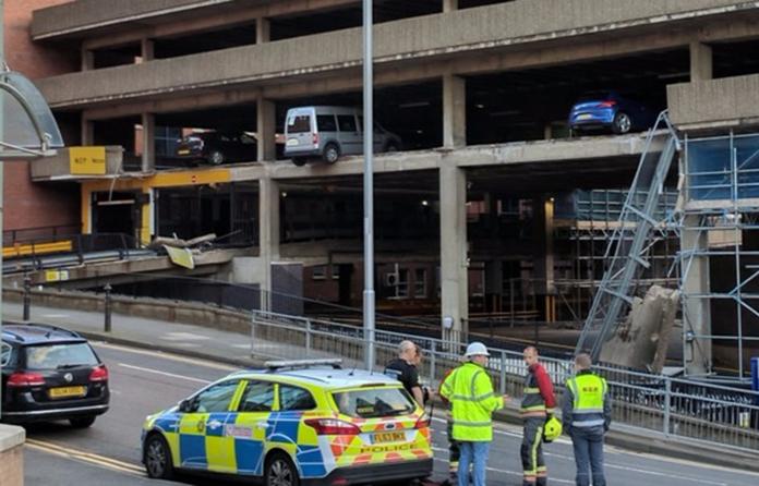 Collapse at Nottingham car park leaves vehicles dangling