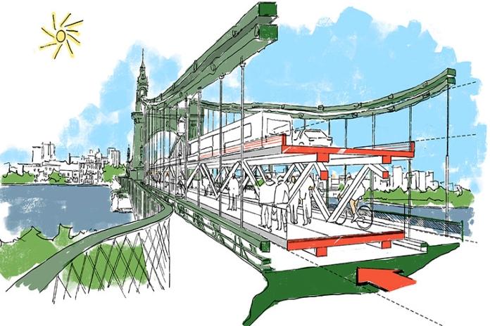 Foster + Partners proposes 'double decker' Hammersmith Bridge