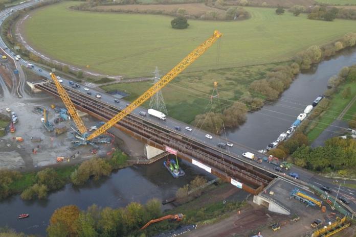 Deck installed on first weathering steel bridge